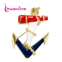 Wholesale Enamel Anchor Jewelry - Newest Jewelry Sea Wind Gold Color with Red Blue White Enamel Anchor Brooches for Fashion Lady