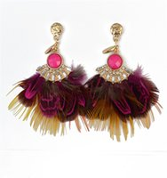 Wholesale Earrings Plume - 2017 NEW 4 COLOR New Women Plume Earring Feather Dangle Earring Angle's Wing New Jewelry girl sexy Feather earrings Dangle Earrings