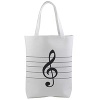Wholesale white girls shopping for sale - Group buy Large Capacity Women s Girls Music Symbols Print Canvas Tote Shopping Handbags Shoulder Bags White