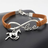 Wholesale Leather Cord Wraps - Wholesale- 2016 New Fashion Silver Love Horse Charm Infinity Bracelets Black Leather Cords Wrap Bangle for Women Jewelry Gift for Christm