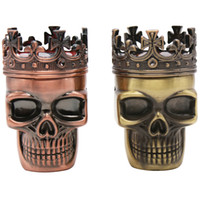 Wholesale Metal Detector Dhl - King Skull Tobacco Grinder 3 Layers Smoking Herb Grinder Pocket Metal Herb Tobacco Skull Grinders Cigarette Machine Detectors DHL 0703133
