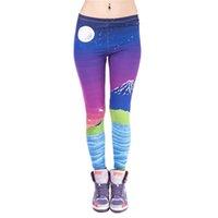 impresión de píxeles al por mayor-Polainas de las mujeres Pixel Fuji Gráficos 3D Imprimir Lady Flaco Lápiz Elástico Ajuste Pantalones de Yoga Casual Chica Patrón Colorido Pantalones Capris (J42427)