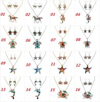 Wholesale Ethnic Rainbow - Fashion Ethnic Jewelry Sets Rainbow Horse Pendant Necklace Drop Earrings Gold Silver Colorful Drip Resin Charm Gift For Women