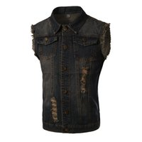 Wholesale New Mens Jean Vest - Wholesale- New Vest Men Spring Fashion Design Mens Slim Fit Denim Vest Male Casual Brand Sleeveless Jean Vest Men Colete Jeans Masculino