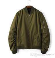 Wholesale 2016 Spring Autumn Mens Solid Flight Army Green Bomber Jacket Men s Rib Sleeve Zipper Short Air Force Baseball Coats Clothing