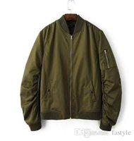 Wholesale Men S Sleeveless Jackets - 2016 Spring Autumn Mens Solid Flight Army Green Bomber Jacket Men's Rib Sleeve Zipper Short Air Force Baseball Coats Clothing