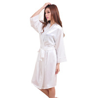 06e861bba9 All ingrosso-Top Quality New White Chiese Chiffon di seta delle donne Robe  Sexy Kimono Bath Gown Sleepwear Camicia da notte Robe casuali One Size T05