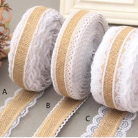 Wholesale Lace Band Trim - 10m lot 2.5cm lace Linen Handmade Christmas Crafts Jute Burlap Band Ribbon Roll+white Lace Trim Edge Rustic Wedding Decoration Party Supply