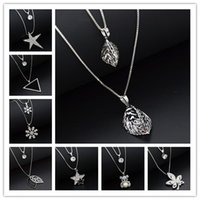 Wholesale Butterfly Sweater Pattern - 24 Styles Fox Butterfly Angel Snowflake Star Key Lock Cross Pattern Charming Crystal Zircon Pendant Necklace Long Sweater Chain Jewelry