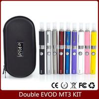 Wholesale Mt3 Double Starter - Double EVOD MT3 starter kit Electronic Cigarette MT3 atomizer 650mAh 900mAh 1100mAh Evod Battery vaporizer zipper kit evod coils 9 Colors