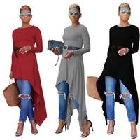 Wholesale Dipped Hem Dresses - 100% Cotton Dip Hem Dresses For Women Asymmetric High Low Long Sleeve Shirts Dress With Belt Wholesale Cheap DHL Fast Shipping