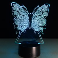 Wholesale Butterfly Eggs - 2017 New Butterfly 3D Optical Lamp Night Light DC 5V USB Charging AA Battery Wholesale Dropshipping Free Shipping