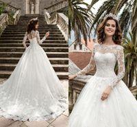 Wholesale Queen Plus - 2017 New Queen Vestios De Novia A-line Wedding Dresses Sheer Long Sleeves Lace Corset Back Vintage Bridal Gowns