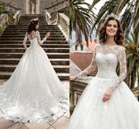 ingrosso regina indietro-New Queen Vestios De Novia A-line Abiti da sposa Sheer Maniche lunghe pizzo corsetto Back Vintage Abiti da sposa