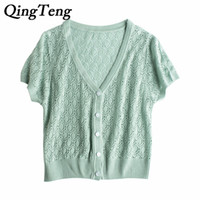 Wholesale White Sheer Button Blouse - QingTeng Summer Short Sleeve Thin Cardigan Sweaters For Women Buttoned Slim Sexy Sheer Knitted Top White Lace Blouse Hollow