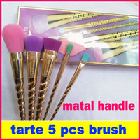 Wholesale Wholesale Rose Hair - 2017 tarte makeup brushes sets cosmetics brush 5 bright color rose gold Spiral shank make-up brush unicorn screw makeup tools tarte Contour