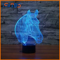 Wholesale Wholesale Table Mushroom Lamps - USB Novelty Gifts 7 Colors Changing Animal Horse Led Night Lights 3D LED Desk Table Lamp as Home Decoration