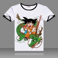 siyah ejderha kostümü toptan satış-2017 T-shirt DRAGON BALL Cosplay Siyah O-Boyun Kısa Kollu Kostümleri Goku Baskı Unisex Rahat Yaz Tees Tops