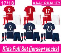 Wholesale Thai Wholesale Soccer Jerseys - Kids Full Set (set+socks) LEWANDOWSKI home and away Soocer Jersey Maglie Calcio MULLER ROBBEN COSTA ALABA Soccer Jerseys AAA+ thai quality