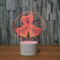Wholesale Usb Ball Speakers - 3D Hearts LED Lamp Speaker 5 RGB Lights USB Charging Bluetooth Speaker TF Card Wholesale Dropshipping