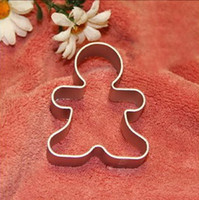 Wholesale Wholesale Metal Christmas Cookie Cutters - Wholesale- Best Christmas Cookie Cutter Tools Aluminium Alloy Gingerbread Men Shaped Holiday Biscuit Mold Kitchen cake Decorating Tools