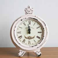 Wholesale Ceramic Table Lights - Wholesale- Retro Style Vintage Shabby Wood Table Clock Home Decor Ornament Light Pink Color