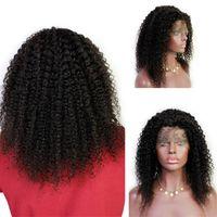 venta virgen peluca llena de encaje al por mayor-Celebrity Wigs 10A Virgin Indian Hair Hair Lace Front Peluca Venta caliente Kinky Curly Full Lace Peluca para mujeres negras Envío gratis rápido