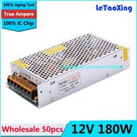 Wholesale Switching Power Supplies Ac Dc - 50pcs Single Output Switching power supply 12V 15A 180W Transformer 110V 220V AC To DC 12 V for 5050 3528 LED RGB Strip light