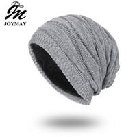 düz kışlık şapka toptan satış-Joymay Marka Kış Kasketleri Erkekler için Düz Renk Şapka Adam Düz Sıcak Yumuşak Kafatası Örme Kap Touca Gorro Şapka Vogue Örgü Beanie WM055