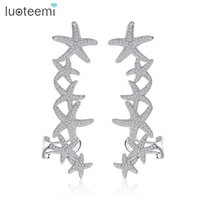 New Arrival Fashion Starfish Design Stud Earrings com CZ Crystal Piercing Ear Cartilage Cuff para Mulheres Brincos Jewelry LUOTEEMI