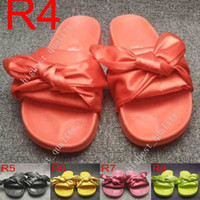 Wholesale Cheap Beach Shoes - (With Box+Dust Bag) Cheap Fenty Bowtie Rihanna Slippers Leadcat bowtie Slippers Shoes Slides Women Sandals Pink Green White Blue Slippers