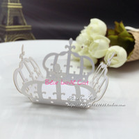 Wholesale Crown Baby Shower Favors - 60pcs lot Laser cut Crown cupcake wrappers wedding decoration birthday party favors supplies chocolate candy box bar cake decor, baby shower