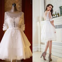 Wholesale Tulle Evening Dress Short Sleeved - SSYFashion Summer New White Lace Flower Short Evening Dress Bride Half Sleeved Knee-length Appliques Sweet Banquet Party Gown