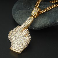 Wholesale hiphop diamond jewelry - Retail Hip-hop full of crystal finger necklace pendant high-end diamond-studded big finger ornaments hiphop jewelry