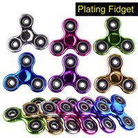 Wholesale Funny Plates - Metallic Color Plated EDC Fidget Spinners Rotate Hand Spinner Originality Decompression Toys Black Gold Finger Toy Funny Spinning oth378