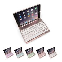 Folding Folio Case 7.9'' Aluminum Keyboard Case for iPad Mini 4 LED Backlit Wireless Bluetooth Keyboard Case Smart Stand Colorful Case for Pad Mini 4 7.9 inch Tablet