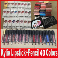 Wholesale Lip Gloss Making - Latest KYLIE JENNER LIP KIT liner Kylie Lipliner pencil Velvetine Liquid Matte Lipstick in Red Velvet Makeup Lip Gloss Make Up 40 colors