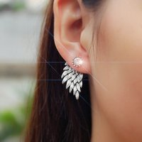 Wholesale Cool Feather Earrings - New Hot Sale Fashion Gothic Women's Feather Stud Cool Jewelry Angel Wings Rhinestone Stud Alloy Drop Stud Earrings