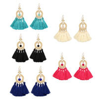 Wholesale Large Red Crystal Pendant - 5 Colors Beaded Tassel Earrings For Monther'S Day Gift New Arrival Simple Large Hoop Funky Earrings Pendants
