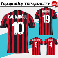 Wholesale Milan Shorts - 2018 AC Milan home Soccer Jersey 17 18 AC Milan Soccer Shirt Customized #10 CALHANOGLU #9 ANDRE SILVA football uniform Sales size S-XXXL
