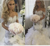 Wholesale romantic shorts online - Hand Made Beading Wedding Dresses Off Shoulder Romantic Bridal Dress Crystals Ruffles Organza Boho Sexy Lace Mermaid Wedding Gowns