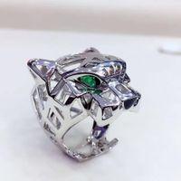 anillo de perlas de racimo negro al por mayor-Top vende Diseños de animales frescos anillo de pantera Hombres Mujeres Anillos de leopardo marca de joyería hueco 925 anillo de plata esterlina mejor regalo envío gratis