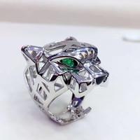 diseños geniales para hombres al por mayor-Top venta Cool animal diseña anillo de pantera Hombres Mujeres Anillos de leopardo marca joyería hueco 925 anillo de plata esterlina mejor regalo envío gratis