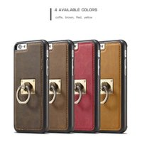 Vendita calda Genuine Leather Tpu + pc Boucle Ring Car Magnetized Kickstand per Iphone 6 6s 7 7plus Pacchetto completo Telefono cellulare Cover Shell Cases
