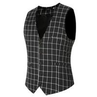 Wholesale Men S Gray Dress Vests - Men's V-neck Plaids Plus Size 4XL Casual Fashion Fabric Cheap Dress Vests