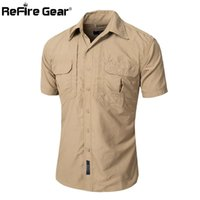 Wholesale Men S Cargo Shirts - Summer Men Short Sleeve Military Shirt Lightweight Army Tactical Cargo Shirts Casual Brand Clothing Breathable Quick Dry Shirt q170662