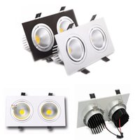 Wholesale Double Switch - Square Double Heads Dimmable Led Downlight 20W Led Ceiling Recessed Lights Silver Black White AC 110-240V