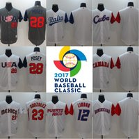 Wholesale Mens Canada - Mens 2017 World Baseball Classic Jersey America USA Canada Cuba Dominicana Italia Mexico Puerto Rico Venesuela Japan Mix Order Wholesale