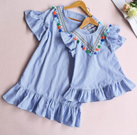 Wholesale Ladies Dress Suits Wholesale - 2017 summer blue white striped mini dress mother daughter matching dress flutter sleeved V tassel front lady gilrs family dress suits