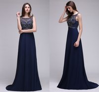 Wholesale Chiffon Pageant Cocktail - Elegant Dark Navy Crystals Prom Dresses 2017 A Line Chiffon Long Sexy Backless Evening Gowns Formal Party Gowns Cheap Pageant Wear CPS537